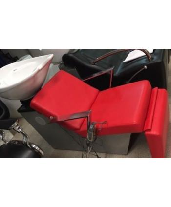 Mueble lavacabezas eléctrico rojo